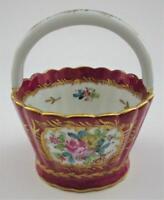 """LG France Porcelain Flower Basket w/ Handle, 5"""""""