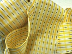 "Vintage 3 1/8"" Rayon Plaid Ribbon Yellow White  & Black 1yd Made in USA"