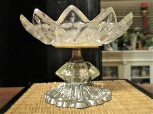 Vtg Glass Compote Candy Nut Dish Silver Footed Pedestal Hollywood Regency