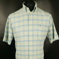 Tommy Hilfiger Mens Casual Shirt M MEDIUM Short Sleeve Blue  Check Cotton