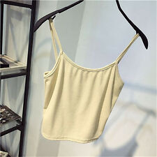 Women Bustier Bra Fashion Crop Tank Top Solid Color Knitted Cotton Camisole