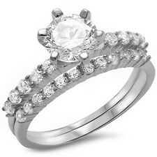 Sterling Silver Ring Sizes 4-12 2ct Round Solitaire Wedding Set .925