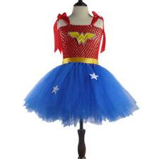 Superhero Girls Wonder Woman Tutu Kids Party Batman Superman Fancy Dress Costume