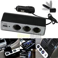 3 Way Cigarette lighter Socket Splitter 12 /24V DC Power Car Adapter + USB Port