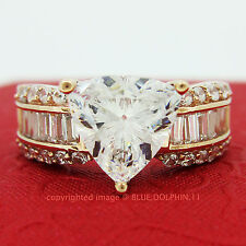 Genuine Solid 9ct Rose Gold Engagement Wedding Ring Trillion Simulated Diamonds