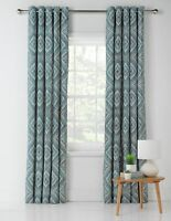 "New Heart of House Sara Lined Eyelet Curtains Duck Egg 46"" x 72"" 117cm x 183cm"