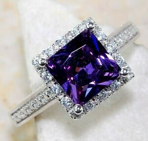 2CT Amethyst & White Topaz 925 Solid Sterling Silver Ring Jewelry Sz 8, M3