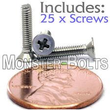 M2.5 x 12mm - Qty 25 - Stainless Steel DIN 965 Phillips FLAT HEAD Machine Screws