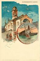 Cartolina di Santa Margherita Ligure, chiesa - Genova / illustratore Wielandt