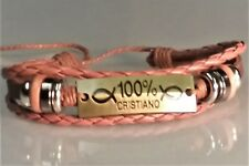 Christian Bracelet ANTIQUE BRASS - MULTI BRAID Design LIGHT BROWN 100% CRISTIANO