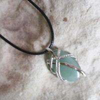 Medium Size Genuine Green AVENTURINE Oval PENDANT & Cord Necklace