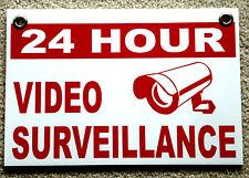 24 Hour Video Surveillance Coroplast Outdoor Sign 8x12 W/grommets