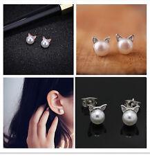HOT Fashion Kawaii Women's Elegant Cute Pearl Cat Kitten Head Stud Earrings CHIC