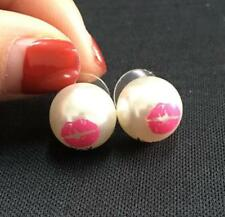 Golden Plated Pearl Pink Lips Studs Earring Alloy Studs Earring Jewelry Gift