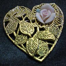 Vintage Goldtone Rose Flower Heartshaped Brooch/Pin made by 1928
