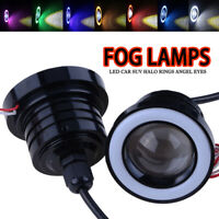 "2X 76mm 3""COB LED Fog Light Projector Angel Eye Halo Ring DRL Driving Bulb Front"