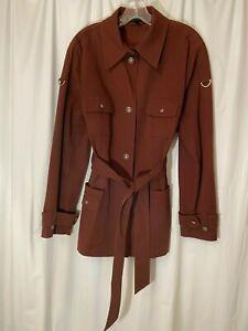 Escada Womens Cotton  Long Sleeve Brown Color Blazer Size 44 US 14