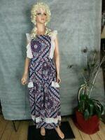 Vtg 70s Maxi Wrap Dress Prairie Bib Red White Blue Floral Paisley Lace 1 Sz REG