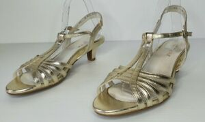 Ziera Gold Leather Sandals Heels Ankle Strap Size 42 EXCELLENT CONDITION
