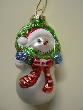 Hallmark Ornament GLASS SNOWMAN WITH WREATH