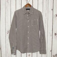 SCOTCH & SODA Men's Button Front Shirt Brown Mini Gingham Check Sz Medium