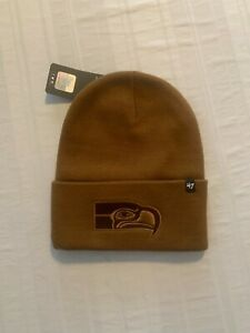 Seattle Seahawks Legacy NFL '47 Carhartt Mens Brown Cuff Knit Beanie Hat New