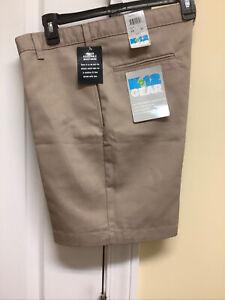 Boys Uniform K-12 Gear Flat Front Shorts size 14 Husky Beige Adj Waist New!