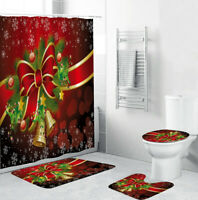 Merry Christmas Shower Curtain Thick Bathroom Rug Set Bath Mat Toilet Lid Cover