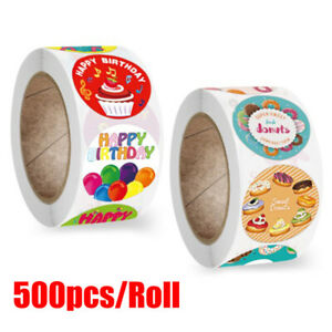 500pcs/roll Party Birthday Stickers Happy Birthday DIY Seal Label Stickers