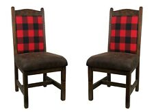 2 Rustic Barn wood Upholstered Seat & Back Dining Chair with Red Black Plaid