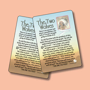 """The Two Wolves"" Old Cherokee Legend - 2 Inspirational Verse Cards -  SKU# 588"