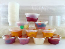 50 Cups with 50 Lids ->Choice 2 oz. LARGE PLASTIC CUP JELLO Souffle Shot Portion