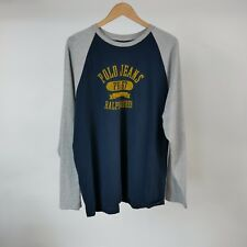 Polo Jeans Ralph Lauren XL PRL67 L/S Rugby T-Shirt Navy Gray Graphic Tee