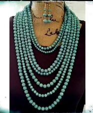 Turquoise Multi Strand Genuine Howlite Stone Bead Luxury Necklace Semi Precious