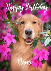 Personalised cute funny Golden Retriever Dog Birthday Card for friends family