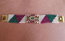 EMERALD RUBY PEARL BRACELET 18K GOLD ON .925 SILVER