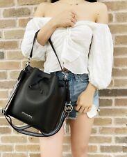 Michael Kors Eden Medium Bucket Bag Shoulder Tote Black Leather Crossbody