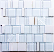 Super White Special Pattern Mosaic Glass and Stone Tile / 22 sq ft
