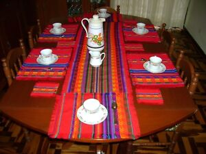 PERUVIAN HANDMADE MANTA RED SET 1 RUNNER,6 PLACEMATS, 6 COASTERS NEW
