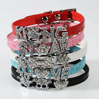 DIY Name Bling Rhinestone Letters Leather Dog Cat Adjustable Pet Puppy Collars