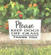 """2 signs 2 steel Stands Keep Dogs Off Grass 12"""" x 8"""" no dog poop yard Signs"""