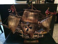 "Mid Centrury Wooden Santa Maria Model Ship 16""x14"" 1969 US Snipe National Champ"