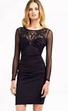 BNWT🎀Lipsy 🎀 Size 8 Mesh Sleeves RUCHED Fitted Applique Bodycon Black Dress S