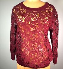 b1b1ae13cd02f Wilfred Aritzia Heavy lace Crochet Burgundy Seethrough Blouse Top 3 4  sleeve XXS