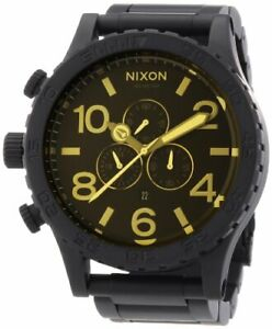 Nixon 51-30 All Black Dial SS Chronograph Quartz Men's Watch A038-1354