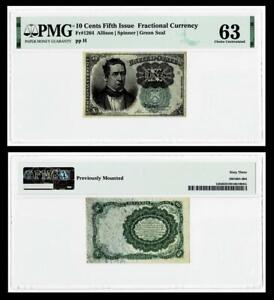 1874 FR1264 10¢ FIFTH ISSUE FRACTIONAL GREEN SEAL ~~PMG~63 ~~UNCIRCULATED