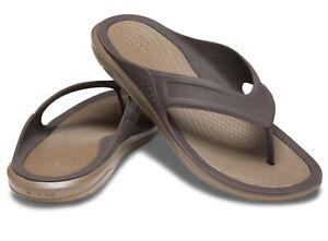 Men's CROCS Swiftwater Wave Flip Flops Thongs Sandals brown navy blue