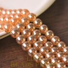 New 15pcs 10mm Electroplating Crystal Glass Round Loose Spacer Beads Amber Gold