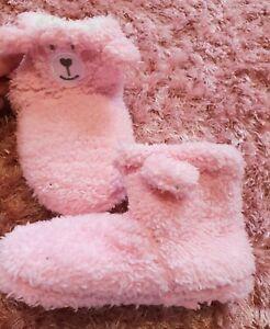 Girls Cute Teddy Bear Pink Fluffy Fleece Faux Fur Slipper Boots Slippers Size 8