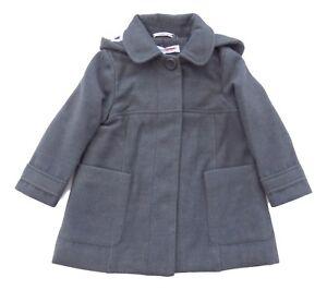 girls WINTER Hooded COAT 2/3Y Minoti (92/98cm) Grey faux wool